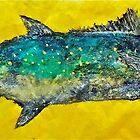 Gyotaku -Spanish Mackerel - Bright Yellow by IslandFishPrint