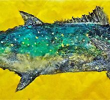 Gyotaku -Spanish Mackerel - Bright Yellow by IslandFishPrint