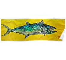 Gyotaku -Spanish Mackerel - Bright Yellow Poster