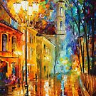 CITY PERSPECTIVE AT NIGHT by Leonid  Afremov