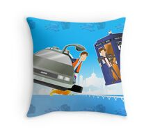 Doctor Who Back  to the Future Throw Pillow