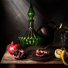 Still Life with Pomegranates & Lemon II by Jon Wild