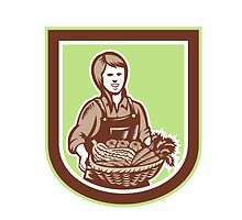 Woman Organic Farmer Farm Produce Harvest Retro by patrimonio