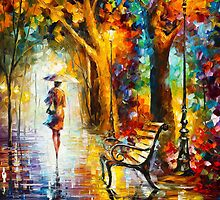 LADY IN THE RAIN by Leonid  Afremov