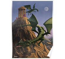 Dragons flying around a temple on mountain top  Poster