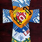 Cross with Hearts License Plate Art by designturnpike
