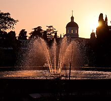 Fountain at sunset by BigMike4339