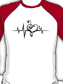 MUSIC HEART PULSE, Love, Music, Bass Clef, Treble Clef, Classic, Dance, Electro T-Shirt