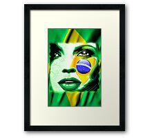 Brazil Flag Girl Portrait Framed Print