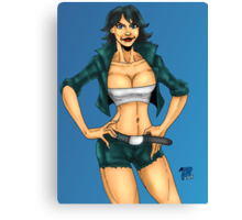Forest Green Leather Pinup Chick Canvas Print