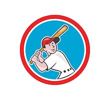Baseball Player Batting Looking Up Circle Cartoon by patrimonio