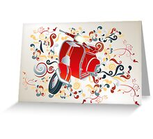 Retro illustration with red scooter, colorful swirls and floral elements Greeting Card
