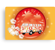 Retro bus with floral patterns  Canvas Print