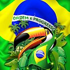 Toco Toucan with Brazil Flag by BluedarkArt