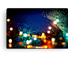 Raindrops and Evening Lights Canvas Print