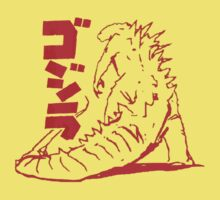 Godzilla Outline Red Kids Clothes