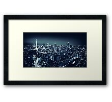 Panoramic city scenery of Tokyo and Tokyo tower Black and white art photo print Framed Print