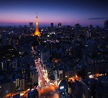 Tokyo tower illuminated at night in cityscape art photo print by ArtNudePhotos