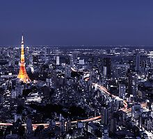 Artistic aerial scenery of Tokyo Tower and cityscape at night art photo print by ArtNudePhotos