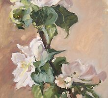 twig of apple tree with flowers by Alla Melnichenko