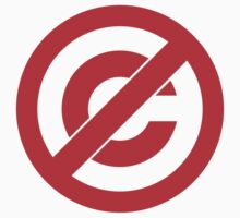 Public Domain Symbol, Copyleft [Red Ink] by FreshThreadShop