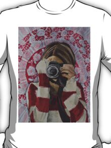 Selfie, watercolor and mixed media on paper T-Shirt