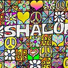 Retro 60s Judaica Shalom Peace Symbol Love by Lee Hiller