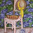 Still Life with flowers on chair 1 by Sonja Peacock