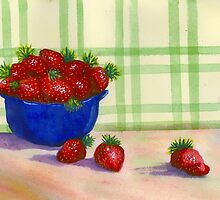 Bowl of Strawberries  by Roseann Meserve
