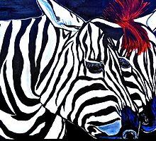 Zebras on a Blue Night by Saundra Myles