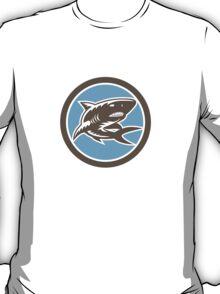 Shark Swimming Up Woodcut Retro T-Shirt