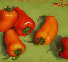 Mini Peppers Mini Painting by Margaret Stockdale