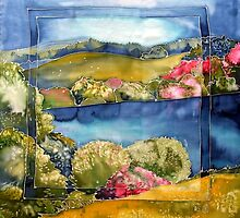 Ireland in spring silk painting by Krisztina Borody