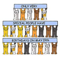 Cartoon cats celebrating May 19th Birthdays. by KateTaylor