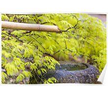 Zen bamboo fountain Poster