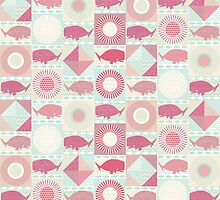 geo whales pink by Sharon Turner