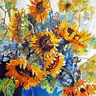 Sun Flowers Pillow by Jim Phillips