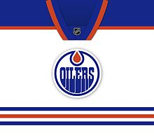 Edmonton Oilers Away Jersey Throw Pillow by Russ Jericho