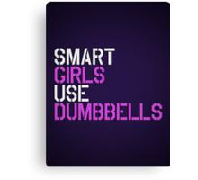 Smart Girls Use Dumbbells (wht/pnk) Canvas Print