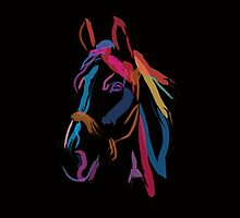 Pillow horse color me beautiful by Go van Kampen