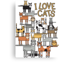 I Love Cats_For All Colors Canvas Print