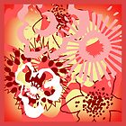 Red Floral Colour Splash Cushion Version 1 (see description) by Ra12