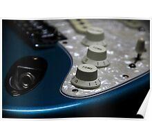 Fender Stratocaster In Blue Sparkle Electronics Detail Poster