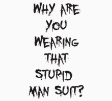 Donnie Darko - man suit (black font) by jimmynails