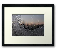 Frost on window. Sunrise. Small town of Norway. Framed Print