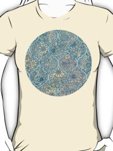 Moroccan Floral Lattice Arrangement - aqua / teal T-Shirt