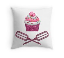 Cupcake & Crossed Beaters In Pink Throw Pillow