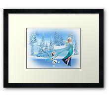 Olaf and Elsa Framed Print