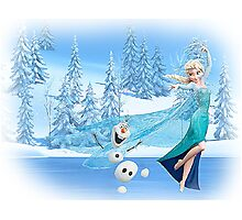 Olaf and Elsa Photographic Print