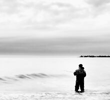 Fishing at Cape May in Black and White by Kadwell